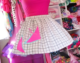 Grid print skirt, fairy kei 80's party geometric abstract vaporwave saved by the bell cotton custom size