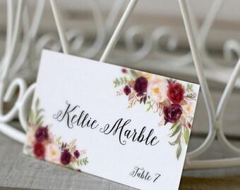 PLANO personalizado personalizado imprimible boda topónimos, lugar de la boda, tarjetas de nombre, Borgoña acuarela Floral - BPF-23 de estar