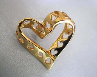 Vintage Avon Heart Brooch - Goldtone Heart Brooch - Heart of Hearts Brooch