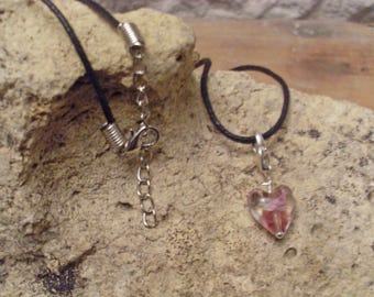 Lace with pink murano pendant necklace