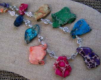 Natural Stone necklaces,Tribal Necklace,Colorful Jewelry,Polished Stone Necklace, Primitive jewelry,Avant Garde necklace #26