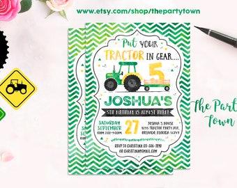 Tractor Birthday Invitation, Green Tractor invite, Farm Birthday Invitation, Printable Invitation
