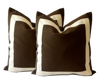 Chocolate Brown Cotton Canvas Decorative Throw Pillow Cover with Off White Grosgrain Ribbon Border - Cushion Covers