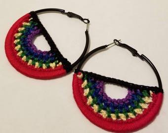 Rainbow Crochet Hoop Earrings