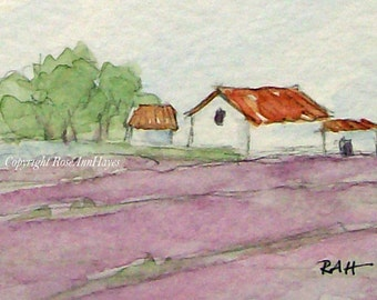 Lavender Field in Provence France Original Miniature Watercolor Painting Housewarming Gift