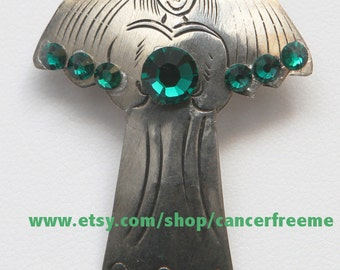 Liver & Kidney Cancer Awareness Angel Pin, Cancer Awareness, Jewelry, Green, Crystals, Handmade, Angels, Gift for Her