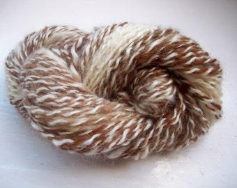 Handspun yarn, luxury Bluefaced Leicester wool, natural brown and cream by SpinningStreak