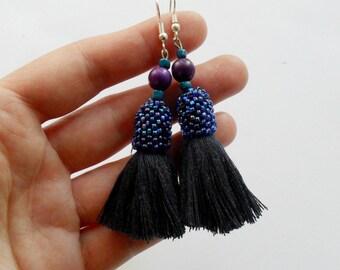 Tassel fringle Fiesta earrings Boho beaded dark blue earrings seed bead purple earrings Blue gift for wife Multicolored chic earrings
