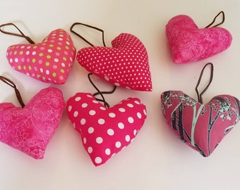 Valentine heart ornaments/ stuffed valentine ornaments/heart ornaments/set of ornaments/stuffed hearts/stuffed valentines/valentine gifts