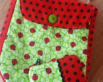 LadybugToddler Backpack, Pre-school  Backpack, Girl's Backpack, Overnight Bag, Small Backpack, Ladybug Bag