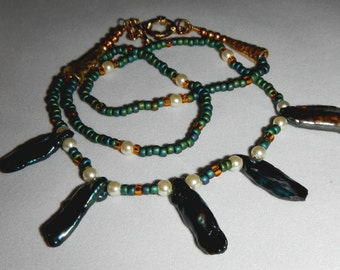 Stick Abalone  Shell and Pearl Necklace