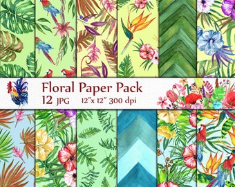 "Tropical Digital Paper: ""TROPICAL  PAPER"" Leaves digital paper Jungle Background Tropical background Exotic Pattern Floral digital paper"