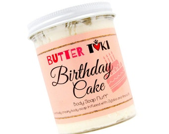 BIRTHDAY CAKE Whipped Body Soap Fluff - Vanilla Soap - Whipped Soap - Cream Soap - Vegan - Paraben Free - Gluten Free - Sulfate Free