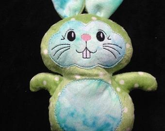 Green Bunny Soft Minky Cuddly plushie, stuffie, plush, plush animal, stuffed animal