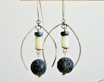 Good Luck Earrings, Black Good Luck Bead, Primitive Jewelry, Sterling Silver Earrings, E561