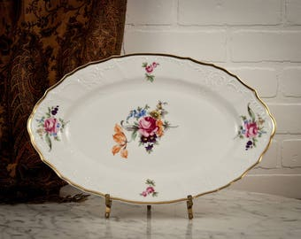 Bernadotte Sonata Platter - Czech - Pink Roses - Purple Flowers  - Tulip - Porcelain Tray