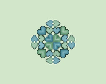 Hearts Touch Quilt Square Cross Stitch Pattern PDF Digital Download