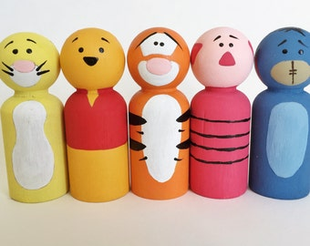 Winnie the Pooh Character Inspired Peg Dolls - Peg Toys - Wooden Pegs