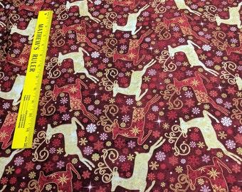 Reindeer Prance-Red Reindeer Cotton Fabric Designed by Deborah Edwards for Northcott Studios