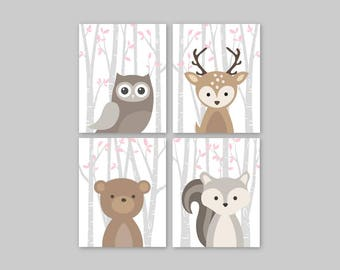 Woodland Nursery Decor, Woodland animals prints for Girl Nursery in pink and gray, Forest Baby animals art Minimalist Owl Deer Bear Squirrel