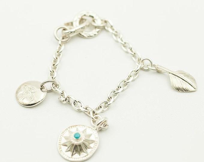 Silver Charm Bracelet Women   Silver Sun Charm   Chain Link Bracelet   Silver Feather Charm   Thunderbird Bracelet  Chunky Bracelet Bohemian