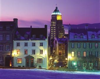 L'Édifice Price and la rue Saint-Denis in winter, Vieux-Québec