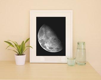 Moon Print; Moon Poster; Art Print: Space Poster; Moon Art Print; Poster; Moon Wall Art; Space Wall Art