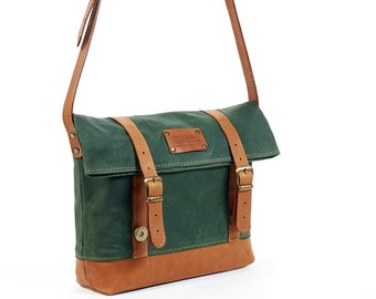 Green waxed canvas crossbody bag.  Waxed small shoulder bag women.