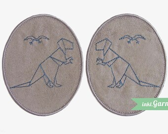 -Patch-Dino Origamimuster design, light grey