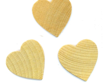 Lot of 9 Wood Heart Cabochons, 42 x 42 mm, 6 mm thick . Scrapbooking, Crafts, Jewelry. Unfinished, porous - DESTASH by enchantedbeas on Etsy