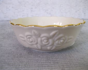 Lenox Cream Colored Bowl Embossed With Roses and Ribbons and Hand Decorated With 24K Gold