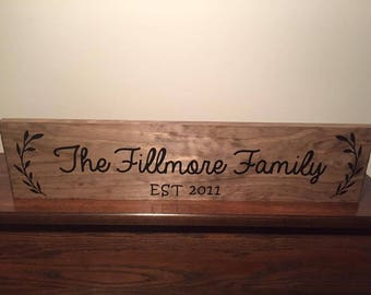 The Family Sign, Family Decorations, Family Established Sign, Custom Wedding Present