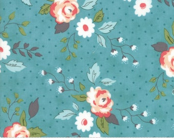 Nest Fabric by Lella Boutiquee for Moda, #5060-16, Floral, Full Bloom Pond, Dusty Blue, Dark Turquois - IN STOCK