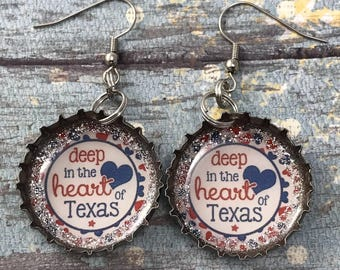Texas Earrings, Heart of Texas, Recycled Bottle Caps, Bottle Cap Earrings Upcycled Jewelry, Recycled Jewelry, Texas Strong