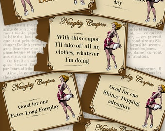 Printable Naughty Coupon Book Printable Man Gift Printable Woman Gift Erotic last minute gift instant download digital collage - VDCOVI0137