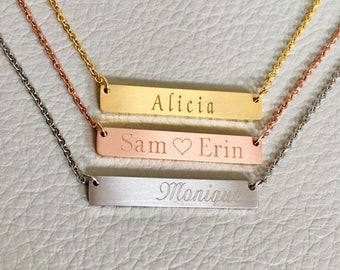 monogram bar necklace, , personalize  bar necklace, rose gold necklace, bridesmaid gift, initial bar necklace, bar necklace