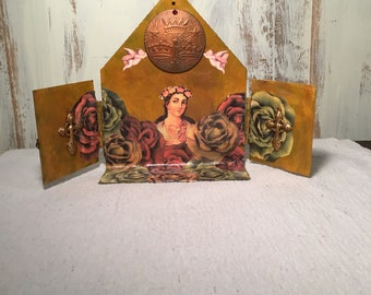 Virgin Mary shrine - Virgin Mary art - Devotional shrine - Catholic art - Cathoic gift - Catholic decor - Religious decor shrine - Shrine
