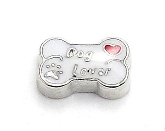 Dog Lover Floating Locket Charm Living Memory Lockets Jewelry Making Supplies - 61b