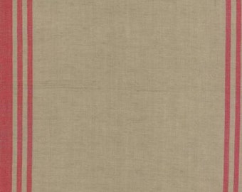 """Linen Closet Toweling 920-248 Flax Red by Moda 16"""" wide"""
