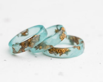Mint Resin Ring Gold Flakes Small Faceted Stacking Ring OOAK pastel mint ring aqua brown minimalist jewelry
