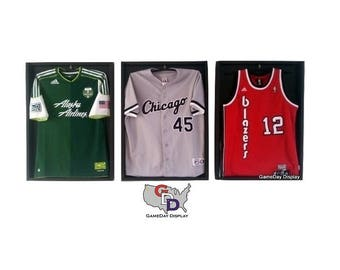 Jersey framing etsy lot of 3 jersey display case frame standard size black backing wall mount football baseball basketball hockey by gameday display solutioingenieria Gallery
