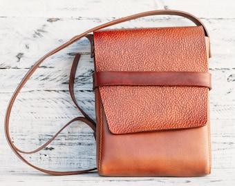 Leather Messenger Bag, Leather handbag, crossbody bag, ipad bag, macbook Travel Case Slim Messenger