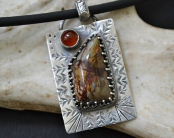 Dead Camel jasper and 6mm carnelian pendant.  hand stamped sterling silver.
