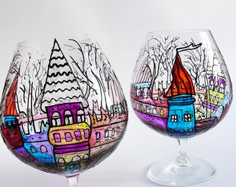 Large Candle Holder, Painted Glass Holder, Large Brandy Glass, Candle Holder Glass, Snifter Glasses