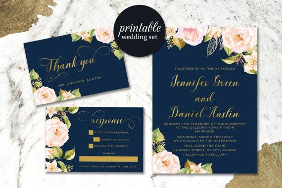 Navy Blue Invitations Wedding: Navy Wedding Invitation Floral Wedding Invitation Boho Gold