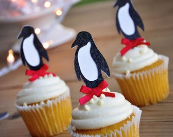 Penguin Cupcake Toppers.  Handcrafted in 2-5 Business Days.  Winter Wonderland Party Decorations.