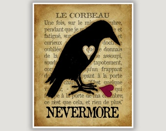 Le Corbeau, The Raven, Edgar Allan Poe, Nevermore, raven wall art, goth art, macabre art, library art, Valentine gift, Halloween art, French