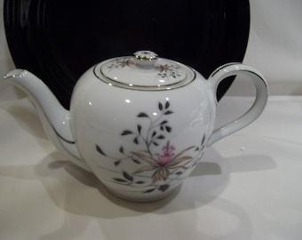 HIRA Fine China Platinum Teapot Exotic Orchid Grey Pink