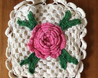 Vintage Pink Rose Crochet Pot Holder
