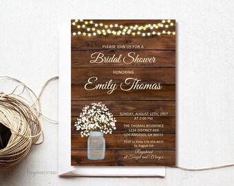 Rustic Bridal Shower Invitation, Wood Bridal Shower Invite, Baby's Breath Invitation, Mason Jar Invitation, PERSONALIZED, Digital file, #D05